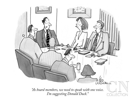 leo-cullum-as-board-members-we-need-to-speak-with-one-voice-i-m-suggesting-donald-new-yorker-cartoon
